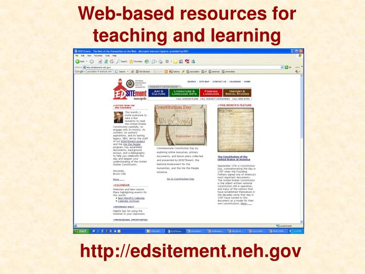 Web-based resources for