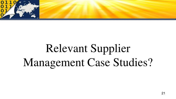Relevant Supplier Management Case Studies?