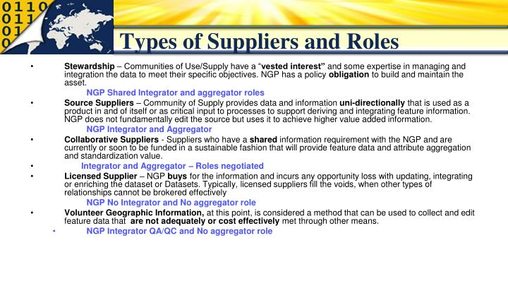 Types of Suppliers and Roles