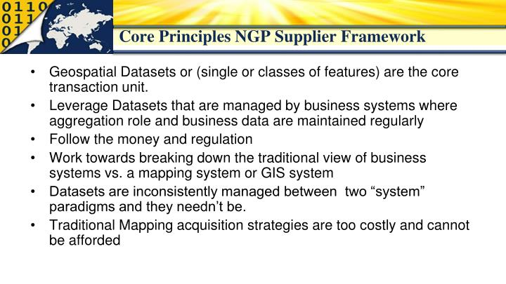 Core Principles NGP Supplier Framework