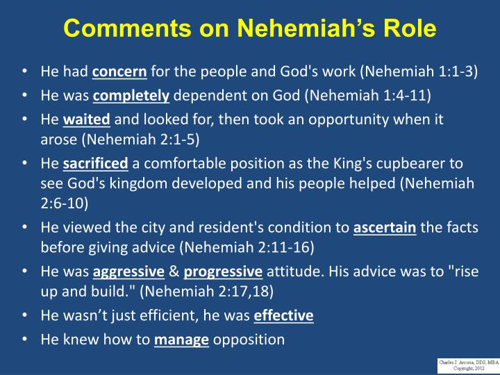 Comments on Nehemiah's Role