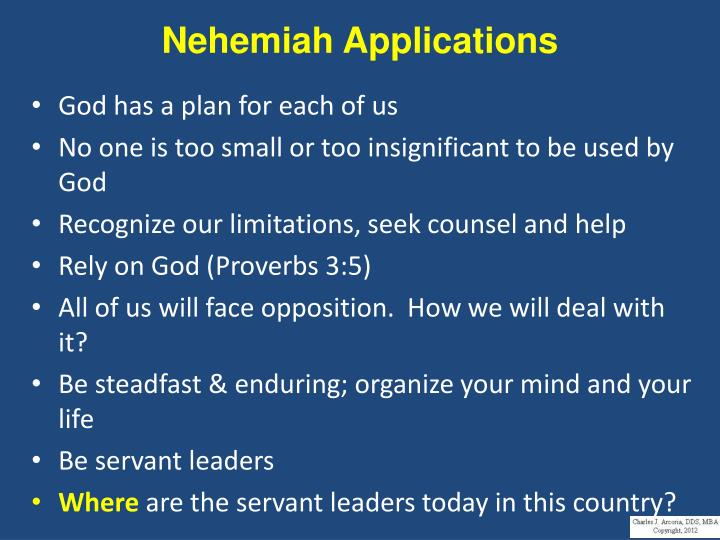 Nehemiah Applications