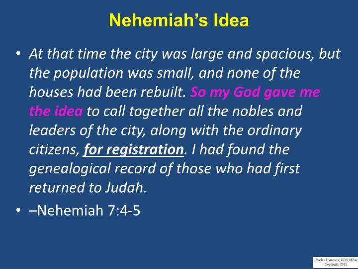 Nehemiah's Idea