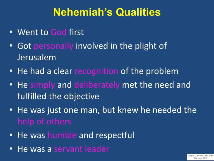Nehemiah's Qualities