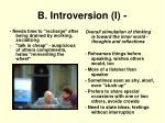b introversion i