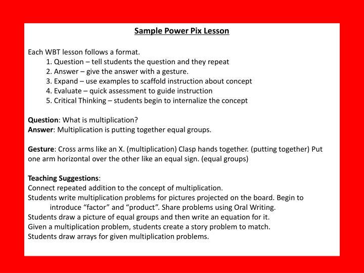 Sample Power Pix Lesson