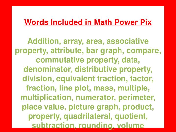 Words Included in Math Power Pix