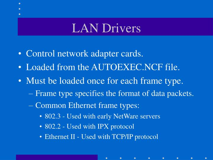 Control network adapter cards.