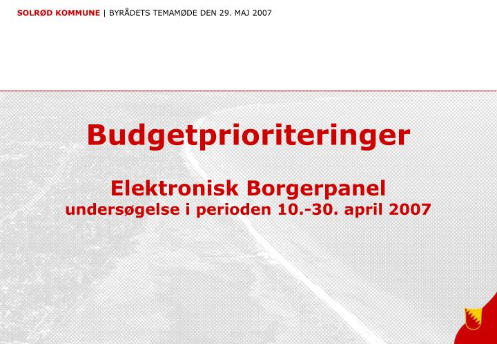 Budgetprioriteringer