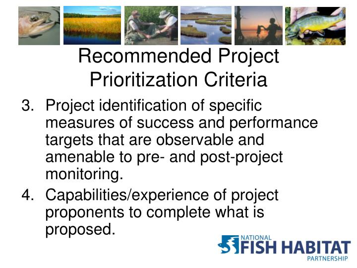 Recommended Project Prioritization Criteria
