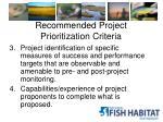 recommended project prioritization criteria1
