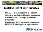 tentative list of 2013 priorities