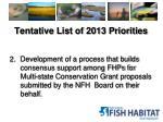 tentative list of 2013 priorities1
