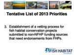 tentative list of 2013 priorities2