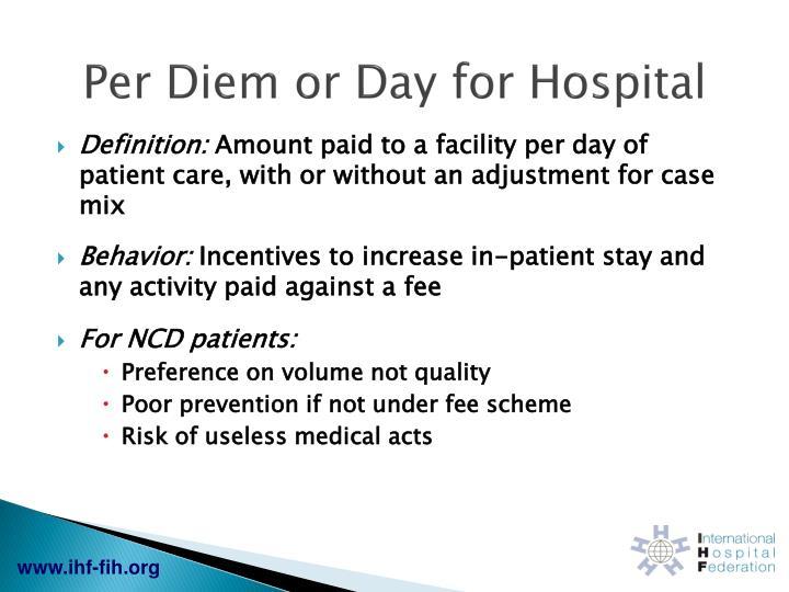 Per Diem or Day for Hospital