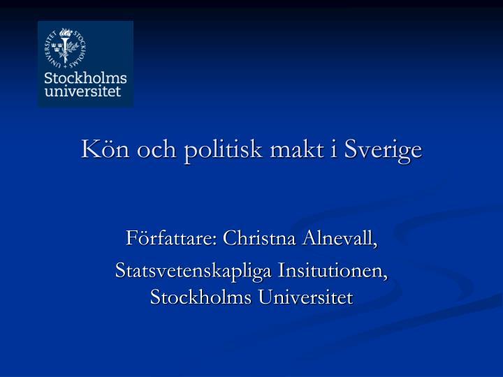 Kön och politisk makt i Sverige