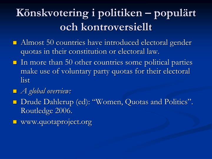 Könskvotering i politiken – populärt och kontroversiellt