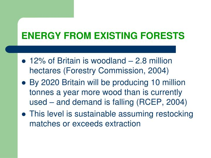 ENERGY FROM EXISTING FORESTS