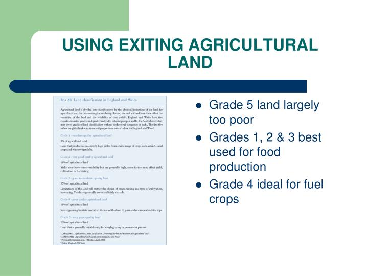 USING EXITING AGRICULTURAL LAND