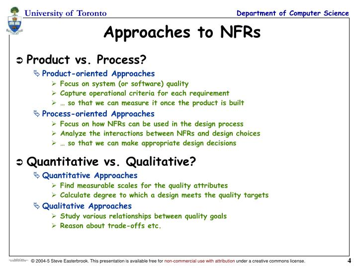 Approaches to NFRs