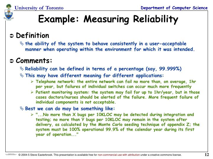 Example: Measuring Reliability