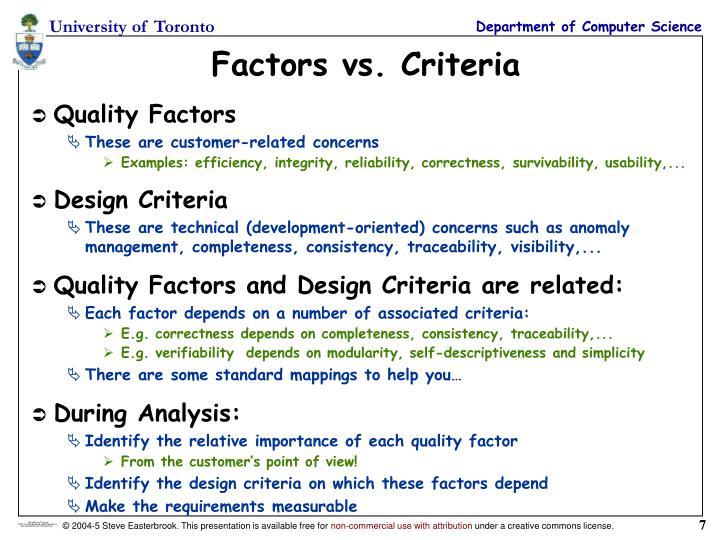 Factors vs. Criteria