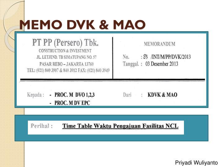 MEMO DVK & MAO