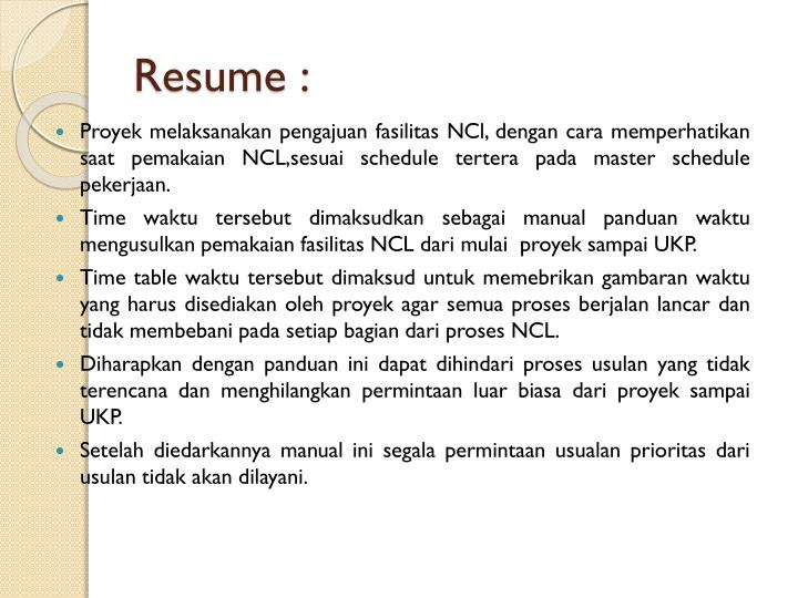 Resume :