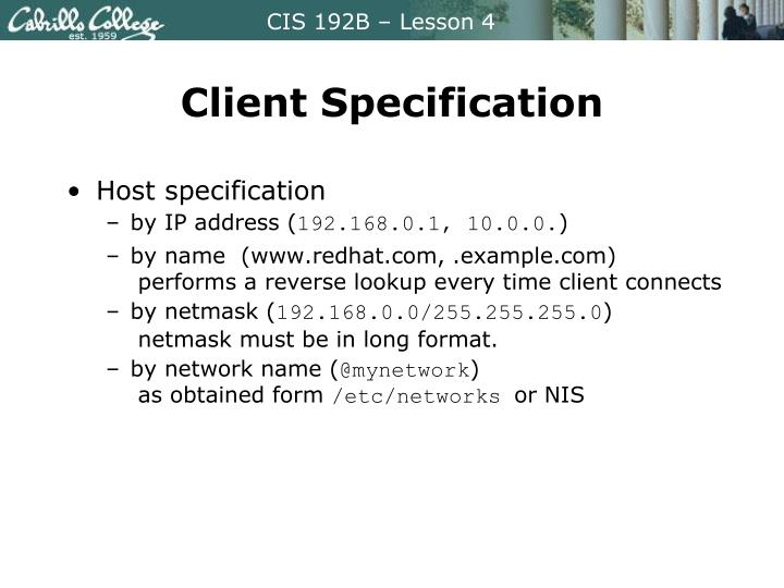 Client Specification