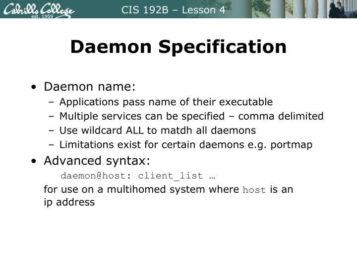 Daemon Specification