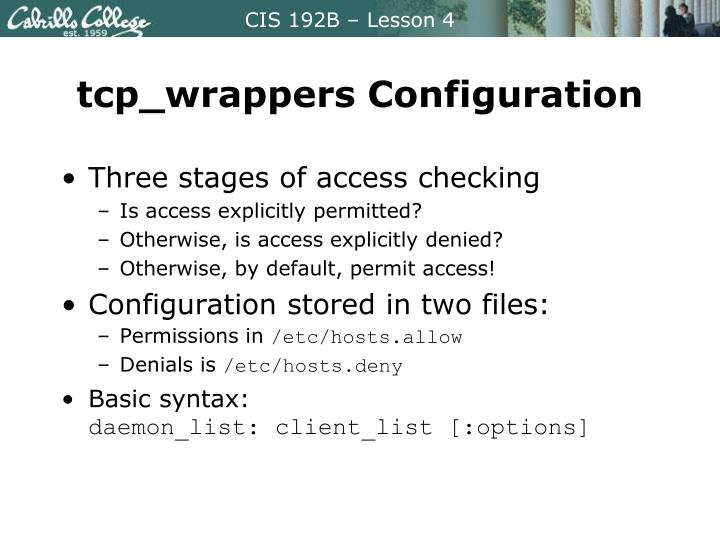 tcp_wrappers Configuration