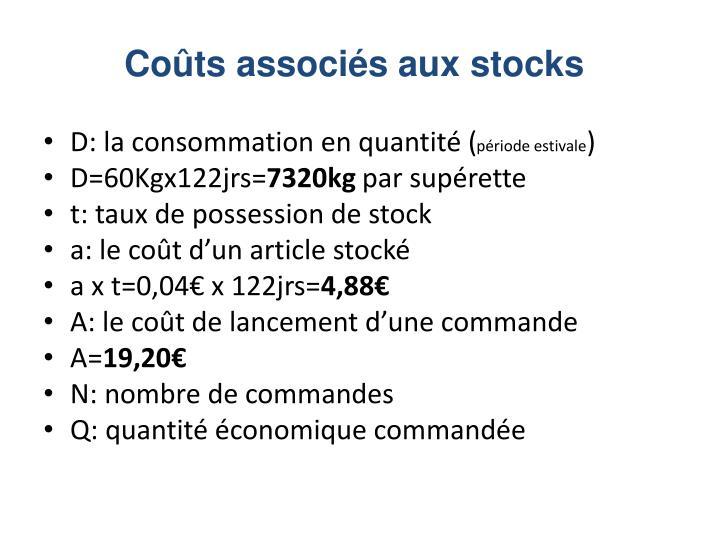 Coûts associés aux stocks