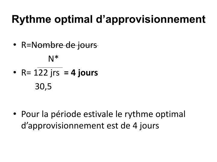 Rythme optimal d'approvisionnement