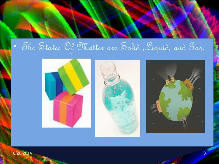 The States Of Matter are Solid ,Liquid, and Gas.