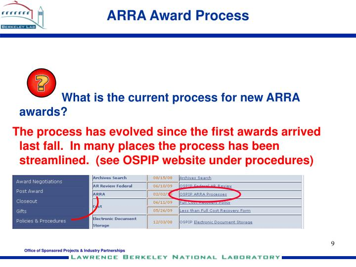 ARRA Award Process