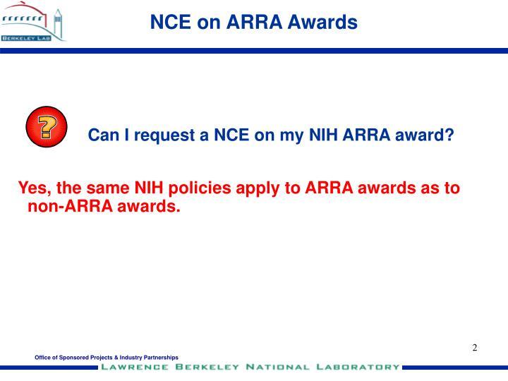 NCE on ARRA Awards