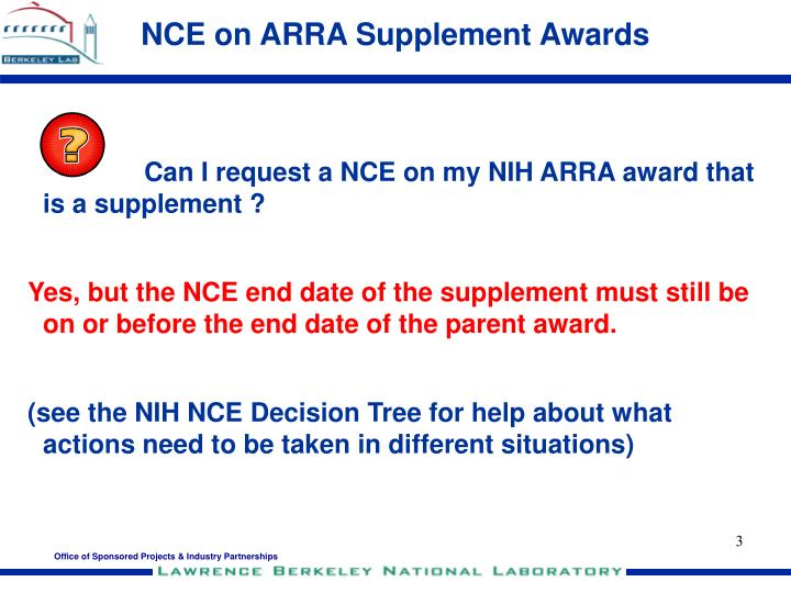 NCE on ARRA Supplement Awards