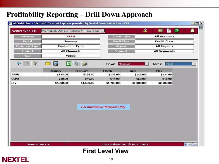 Profitability Reporting – Drill Down Approach