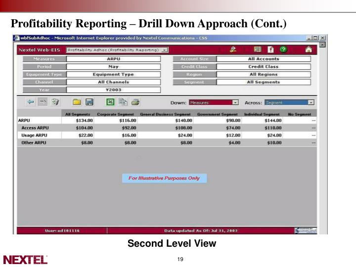 Profitability Reporting – Drill Down Approach (Cont.)