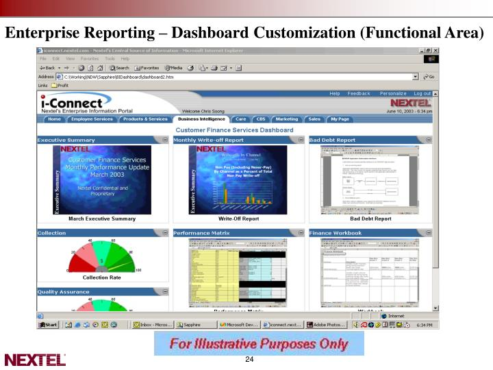 Enterprise Reporting – Dashboard Customization (Functional Area)
