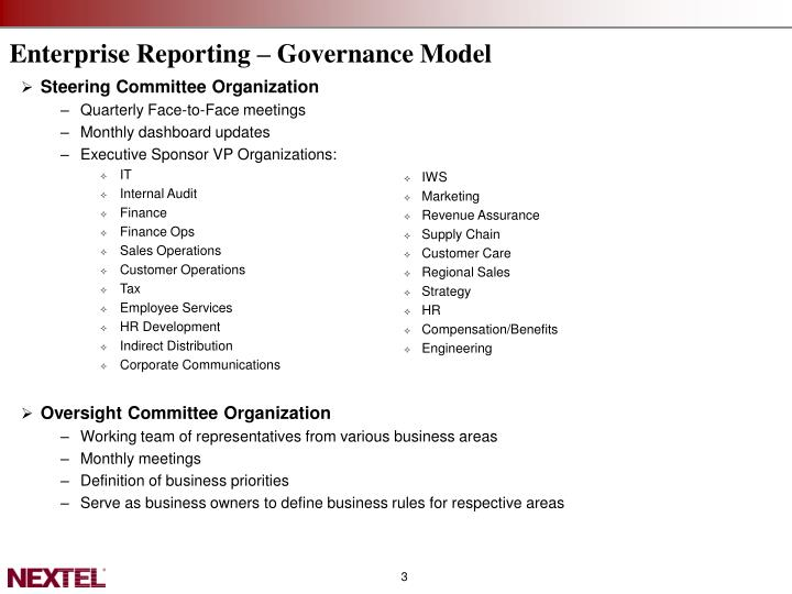 Enterprise Reporting – Governance Model