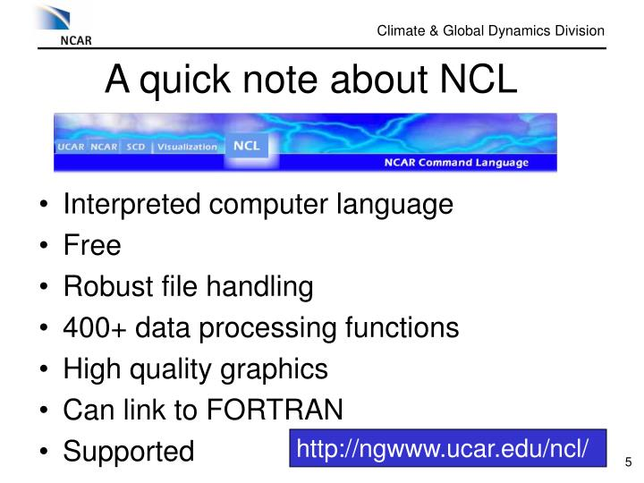 A quick note about NCL