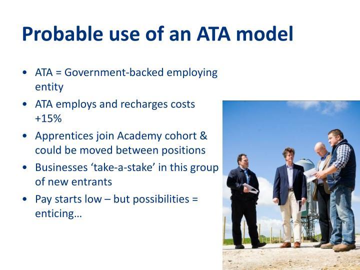 Probable use of an ATA model