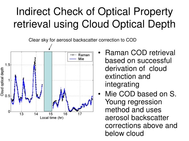 Raman COD retrieval based on successful derivation of  cloud extinction and integrating
