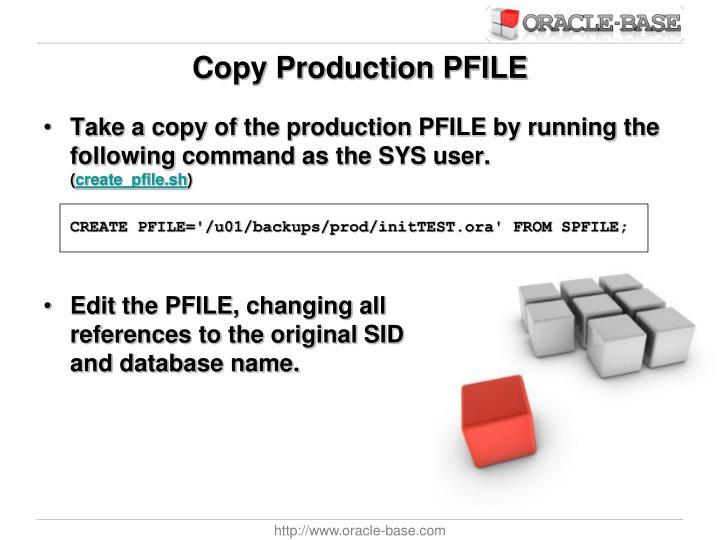 Copy Production PFILE