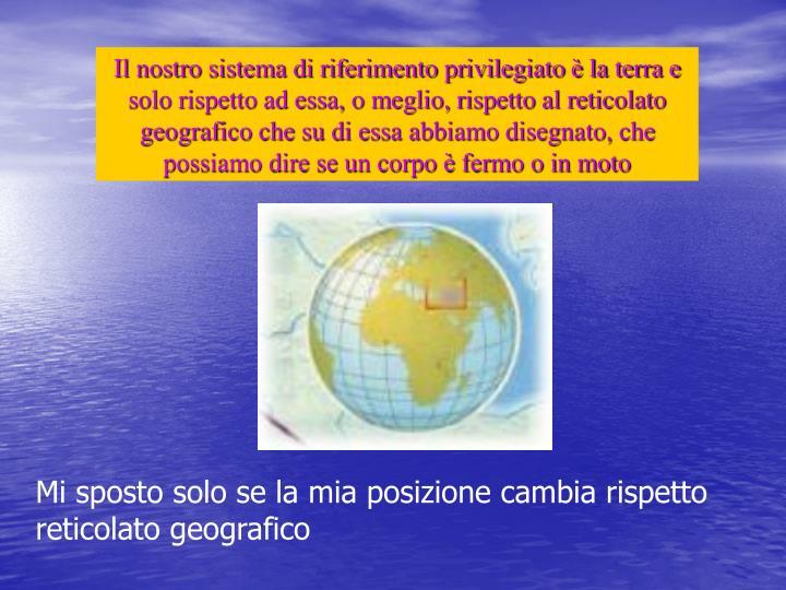 Il nostro sistema di riferimento privilegiato è la terra e solo rispetto ad essa, o meglio, rispetto al reticolato geografico che su di essa abbiamo disegnato, che possiamo dire se un corpo è fermo o in moto