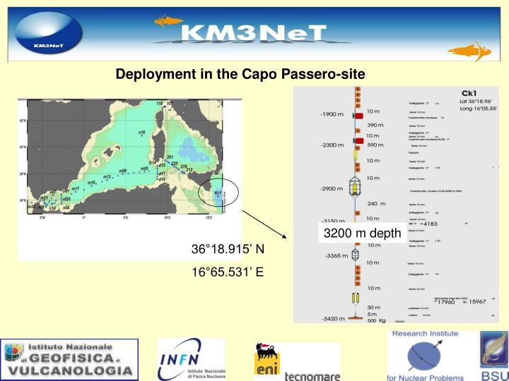 Deployment in the Capo Passero-site