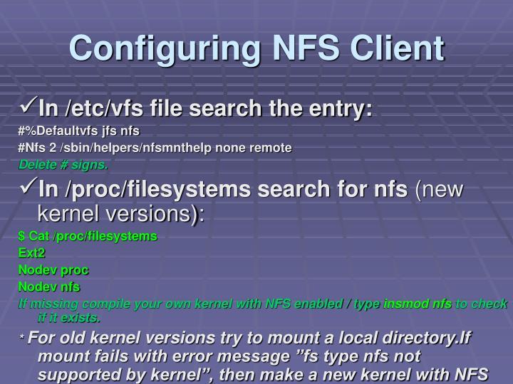 Configuring NFS Client