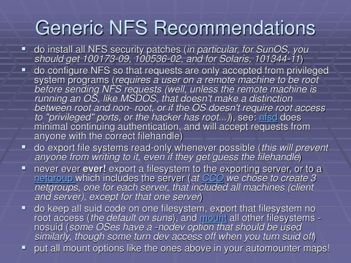 Generic NFS Recommendations
