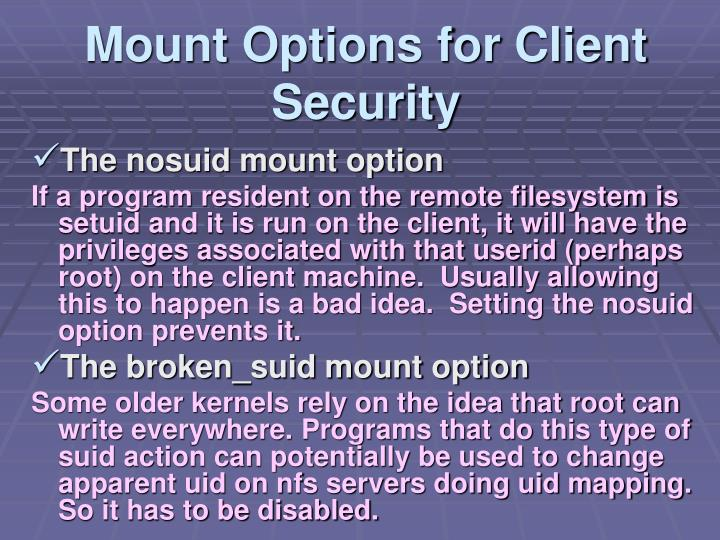 Mount Options for Client Security